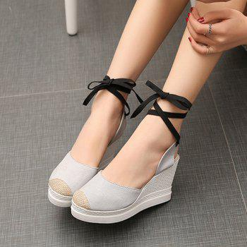 Lace Up Canvas Wedge Shoes - LIGHT GRAY LIGHT GRAY