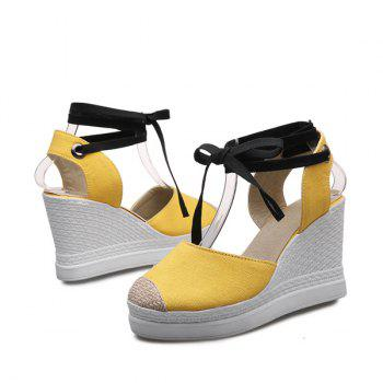 Lace Up Canvas Chaussures Wedge - Jaune 37