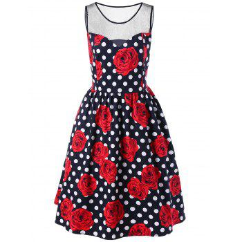 Plus Size Floral and Polka Dot Bridesmaid Dress - 2XL 2XL