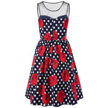 Plus Size Floral and Polka Dot Bridesmaid Dress - BLACK/WHITE/RED BLACK/WHITE/RED