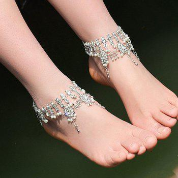 Alloy Layered Bohemian Rhinestone Fringed Anklet