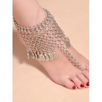 Alloy Mesh Coin Fringed Boho Belly Dance Anklet - SILVER SILVER