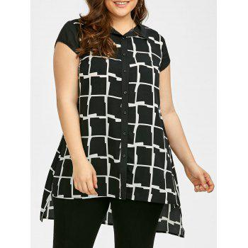 Plus Size Plaid High Low Hem Shirt