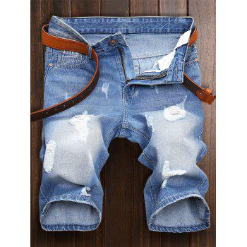 Distressed Zip Fly Denim Shorts