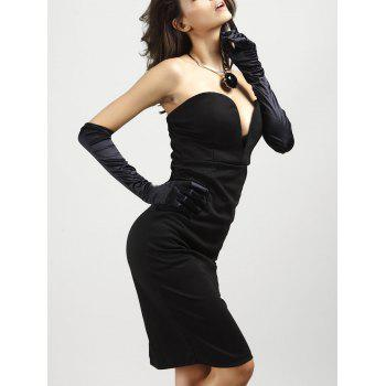 Strapless Low-Cut Padded Bodycon Dress - BLACK M