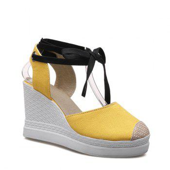 Lace Up Canvas Wedge Shoes - YELLOW YELLOW