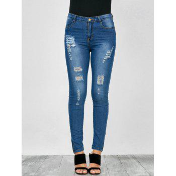 Distressed Zip Hem High Rise Jeans - BLUE S