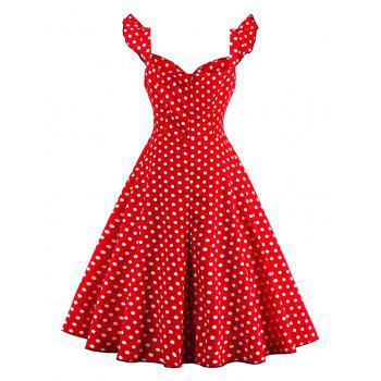 Polka Dot Buttoned Pin Up Rockabilly Swing Dress - RED M