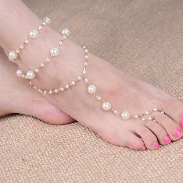 Faux Perle perlée Anklet - Or