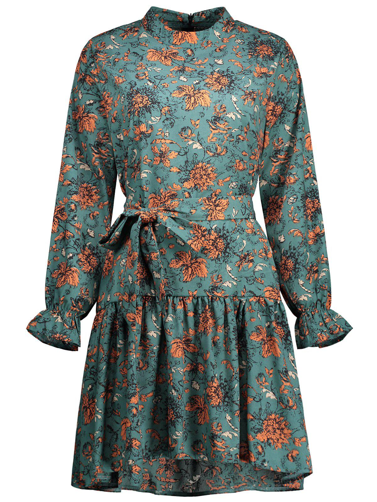 Long Sleeve Floral Plus Size Dress - PATINA GREEN 3XL