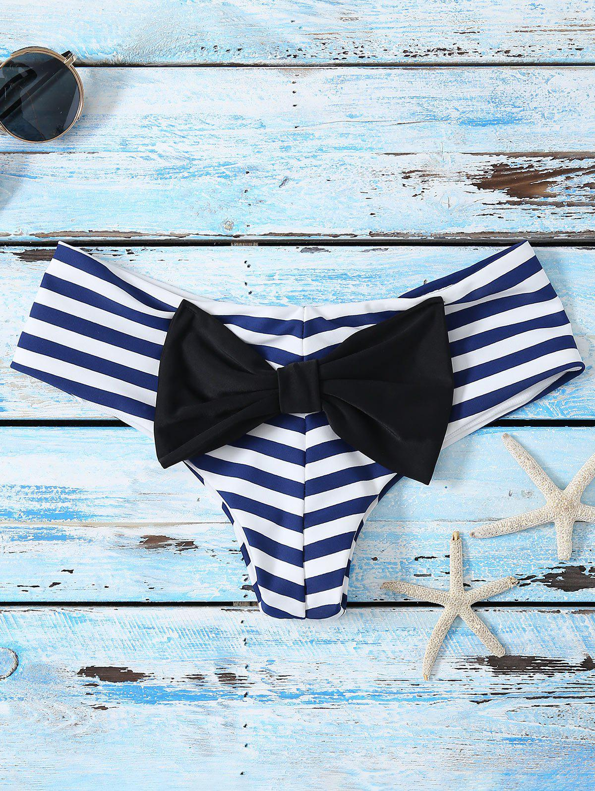 Bowknot Print Swim Briefs - STRIPE XL