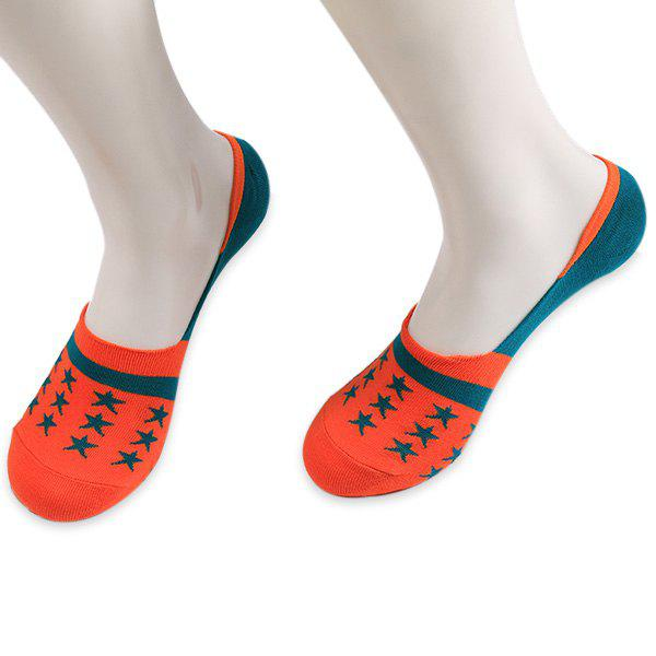 Stars Embellished Knit Loafer Socks - ORANGE