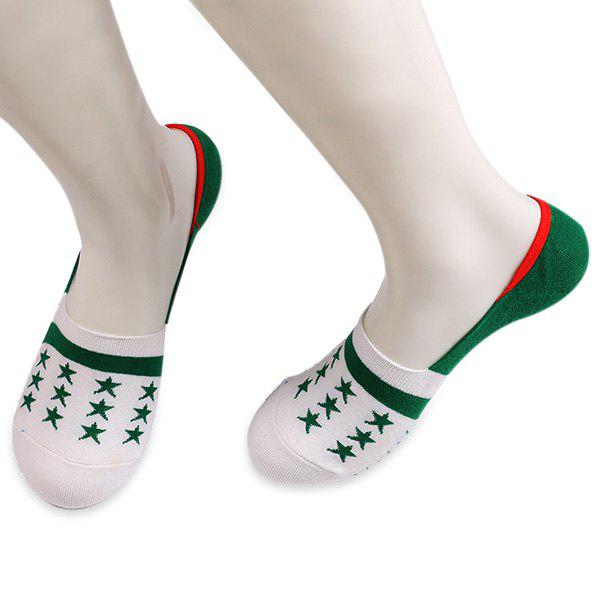 Stars Embellished Knit Loafer Socks - WHITE/GREEN