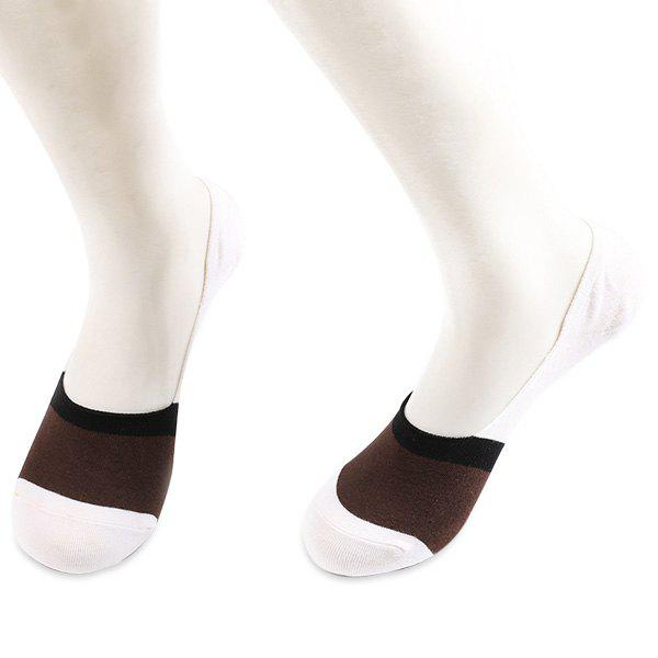 Skidproof Color Block Sperry Socks - COFFEE / WHITE