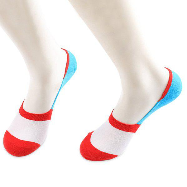 Skidproof Color Block Sperry Socks - RED/WHITE