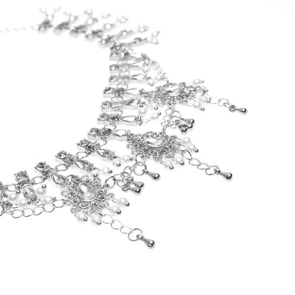 Alloy Layered Bohemian Rhinestone Fringed Anklet - SILVER