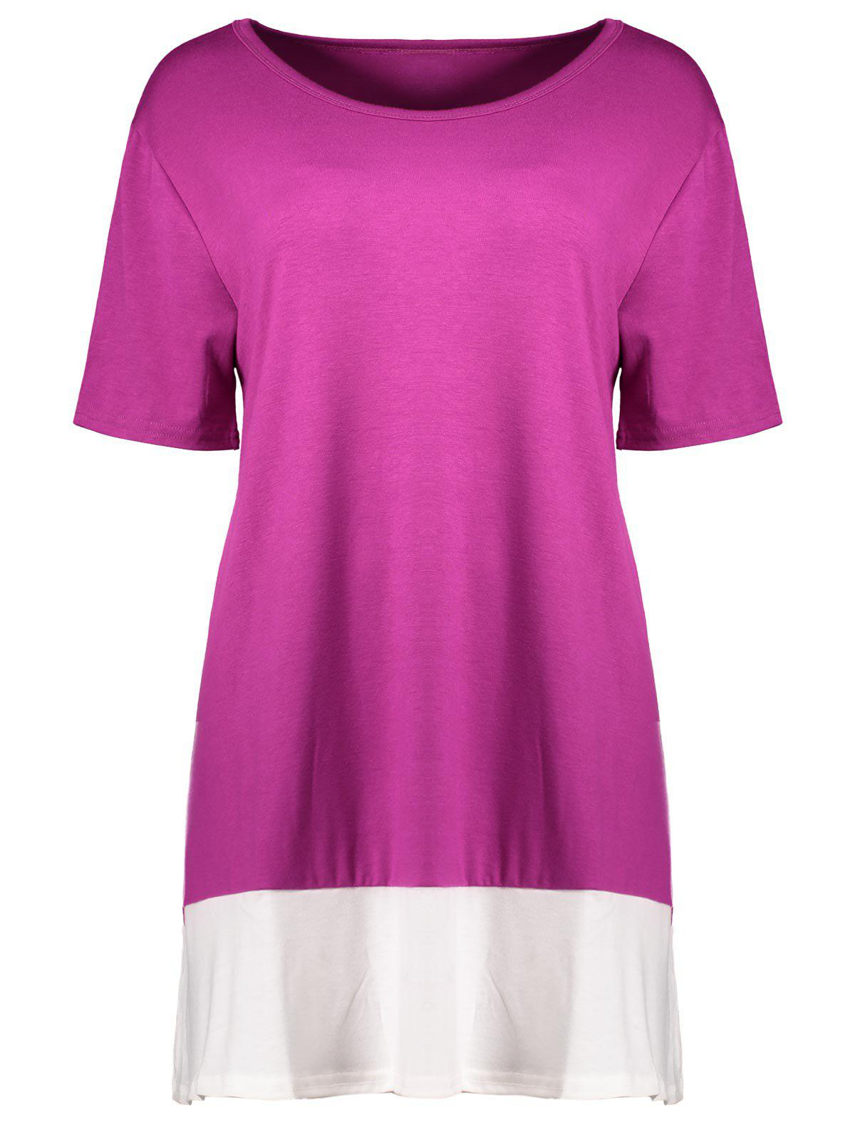 2018 Plus Size Colorblock Mini A Line T Shirt Dress Rose Red Xl In