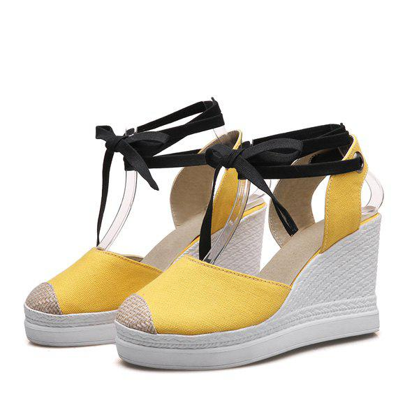 Lace Up Canvas Wedge Shoes - YELLOW 37