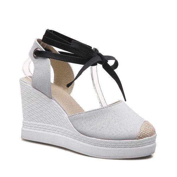 Lace Up Canvas Wedge Shoes - LIGHT GRAY 39