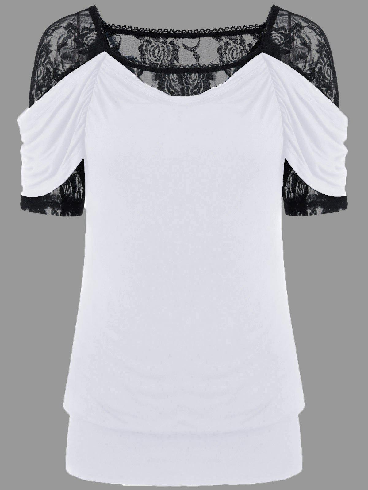 Lace Trim Ruched T-Shirt ruched button t shirt