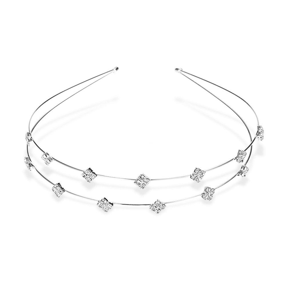 Trendy Rhinestone Rhombus Hairband For Women - SILVER