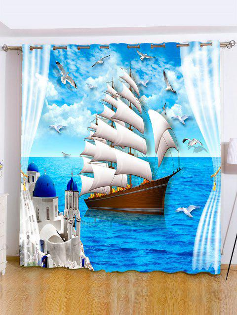 Grommet Roller Ocean View Window Curtain For Bedroom - OCEAN BLUE W59 INCH*L71 INCH