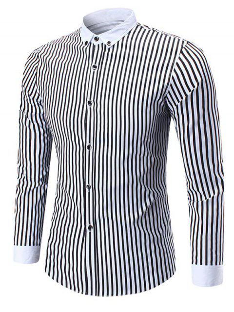 Button Down Vertical Stripe Shirt - BLACK 3XL