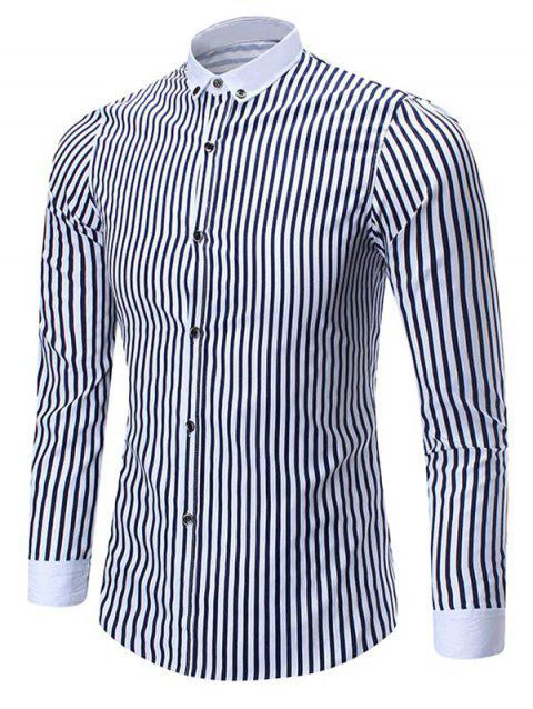 Button Down Vertical Stripe Shirt - BLUE XL