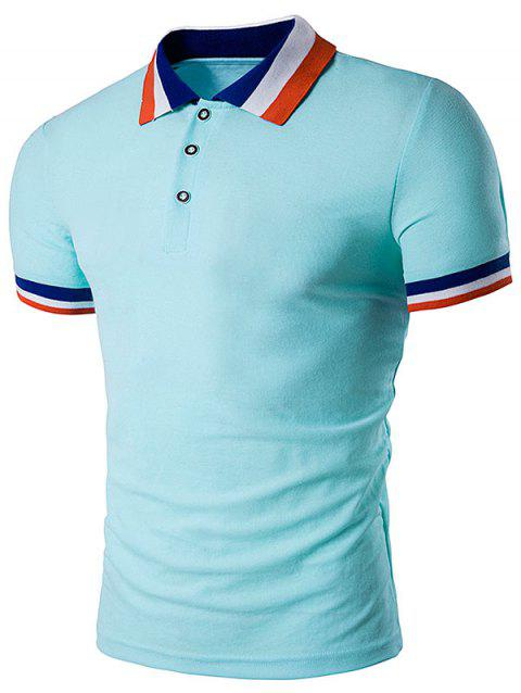 Color Block Turndown Collar Polo T-Shirt - LIGHT BLUE L