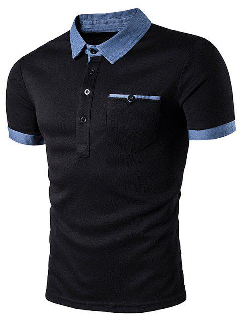 Pocket Denim Splicing Polo T-Shirt - Noir M
