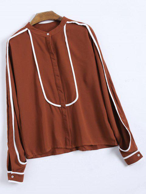 Single Breasted Color Block Chiffon Blouse - WINE RED XL