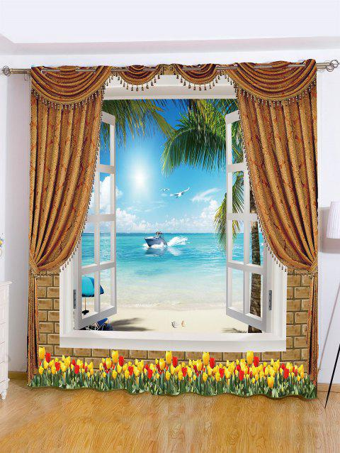 Sea View Printed Roller Wall Decoration Window Curtain - SKY BLUE W59 INCH*L71 INCH