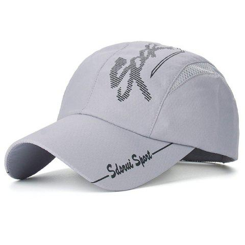 Mesh Splicing Letters Printed Baseball Hat - GRAY