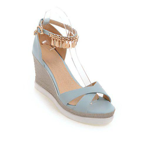 PU Leather Wedge Heel Sandals - BLUE 38