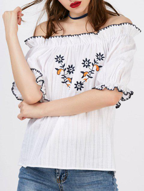 Floral Embroidery Off The Shoulder Blouse - WHITE S