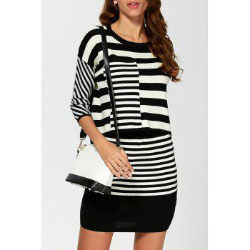 Stripe Sweater with Mini Skirt
