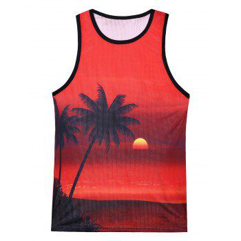 3D Sunset Coconut Tree Print Mesh Tank Top