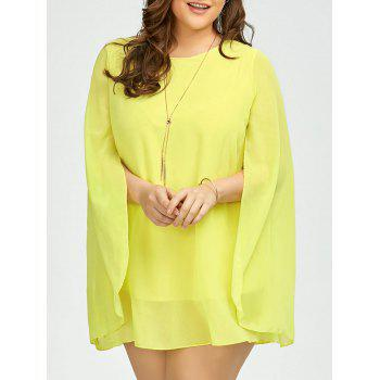 Plus Size Chiffon Cape Dress With Belt