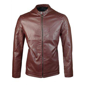 Diamond Shoulder Zipper PU Jacket