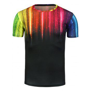 Colorful Ombre Linellae 3D Print T-Shirt