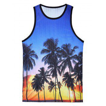 Mesh 3D Coconut Trees Print Tank Top
