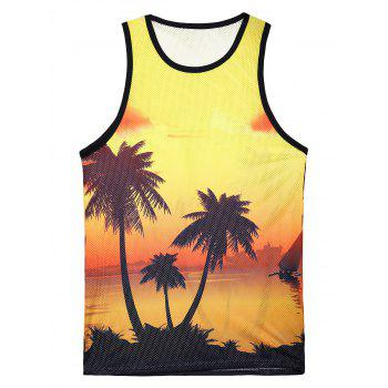 3D Printed Round Neck Hawaiian Tank Top