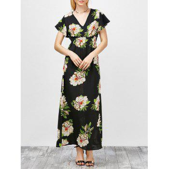 V-Neck Long Floral Print Long Maxi Summer Dress