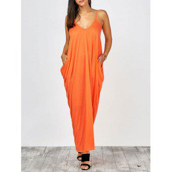 V Neck Casual Summer Maxi Flowy Beach Slip Dress