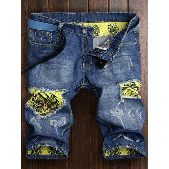 Tiger Pattern Ripped Zip Fly Denim Shorts