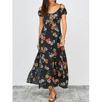 Cold Shoulder Floral Slit Maxi Summer Dress