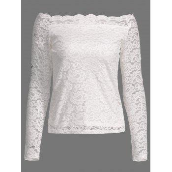 Long Sleeve Off Shoulder Scalloped Lace T-Shirt
