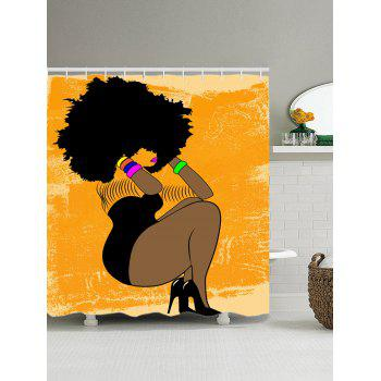 Afro Hair Girl Printed Shower Curtain