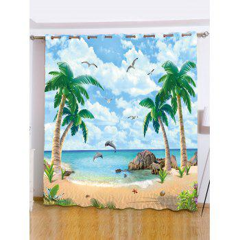 Beach Palm Tree Window Screening Blackout Curtain - LIGHT BLUE W65 INCH*L71 INCH