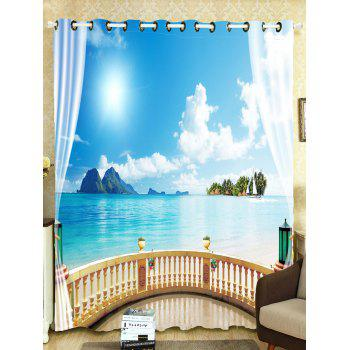Shading Sea Landscape Window Curtain For Bedroom - SKY BLUE SKY BLUE